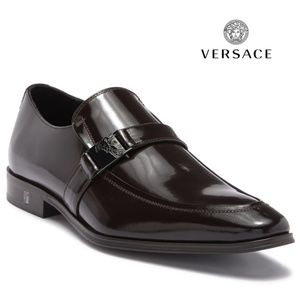 VERSACE Men's Brown Leather Slip-On Loafer
